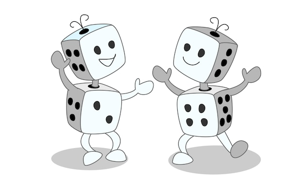 Dancing dice cartoon