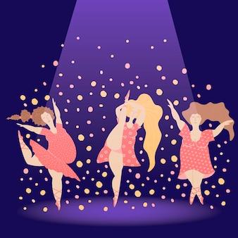 디스코 과체중 여성을 춤. 현장에서 신체 긍정적인 소녀 danse. 쾌활한 플러스 사이즈 여성.