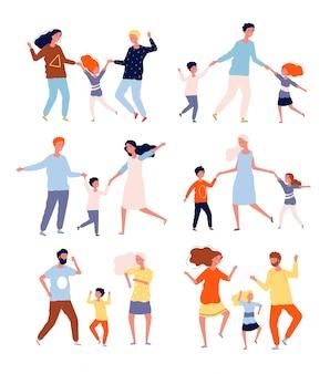 가족 춤. 부모와 함께 놀고 춤추는 아이들 어머니 아버지 어린이 댄서 캐릭터 컬렉션