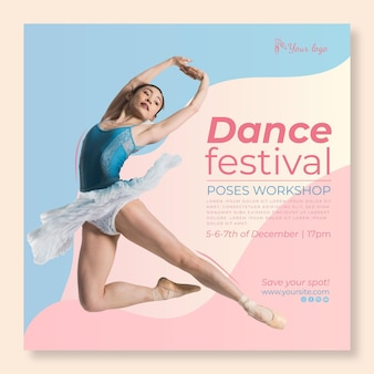 Dancing festival square flyer template