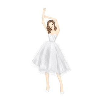 Танцующая девушка в красивом белом платье