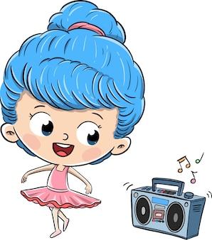 복고풍 라디오에서 음악을 듣고 춤추는 소녀