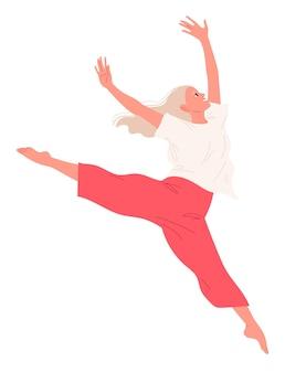 踊っている女の子が腕を上げてジャンプを実行します