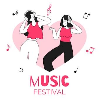 심장 모양 테두리 그림에서 여자 춤. 음악 축제, 디스코 파티, 이벤트. 헤드폰을 가진 젊은 여성, 사람들은 흰색에 고립 된 음악 평면 윤곽 문자를 듣고