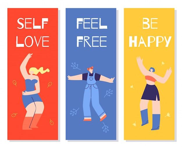 Dancing girls motivational color cards flat banner