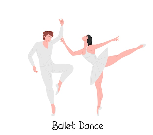 Dancing graceful ballet couple illustration