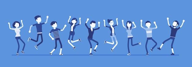 Танцевальная группа счастливых людей. друзья, молодые тусовщики, мальчики-подростки, девочки вместе, юношеское единство. векторная иллюстрация с безликими персонажами, портрет в полный рост