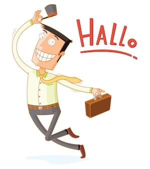 A dancing happy businessman