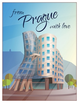 Dancing house building prague poster