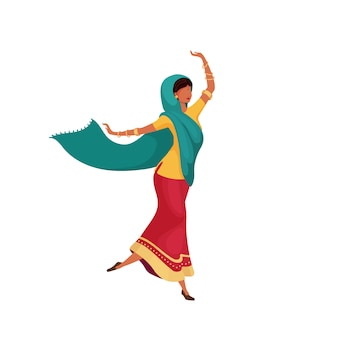 Dancing indian female flat color   faceless character