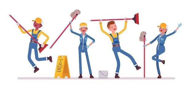 Dancing janitors team