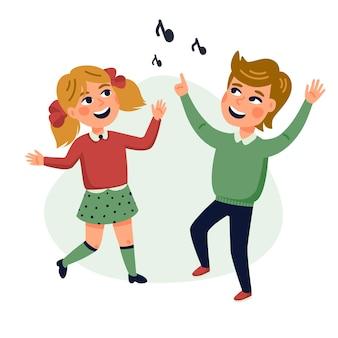 Dancing kids cartoon illustration of happy multicultural children