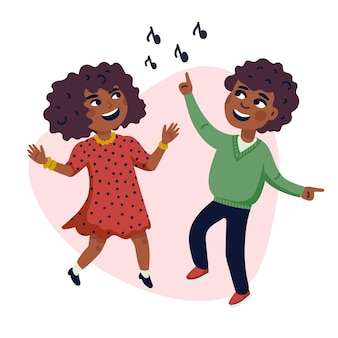 행복한 다문화 어린이의 춤추는 아이 만화 그림