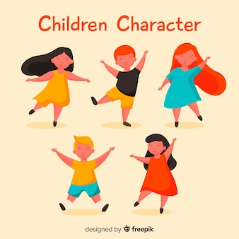 Dancing kids childrens day characters pack