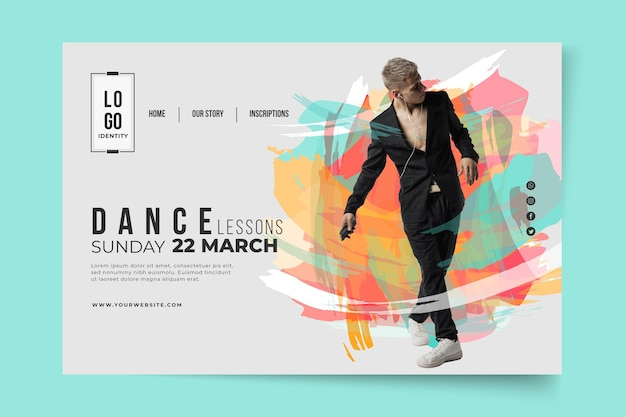 Dancing lessons landing page template