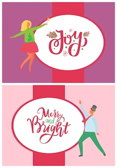 Dancing man, woman in green sweater with fir trees