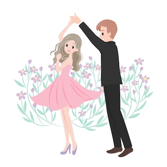 Dancing merriage couple cartoon character