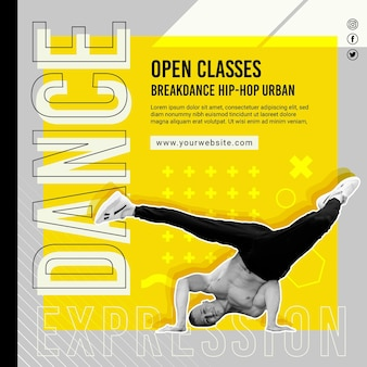 Dancing open classes squared flyer template