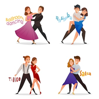 Dancing pairs retro cartoon set