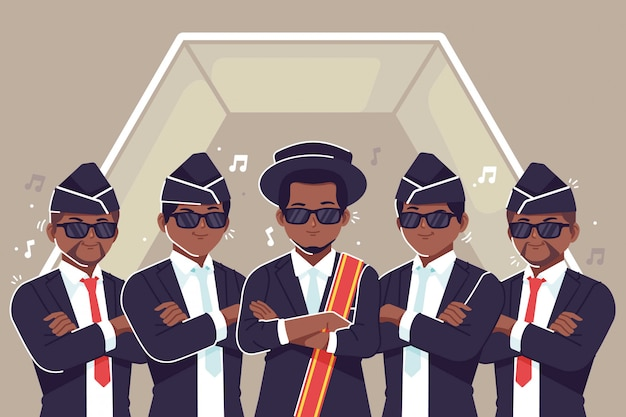 Dancing pallbearers background