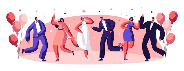 一緒に踊るパーティーのお祝いの人々のキャラクター。幸せな関係の休日の雰囲気ジョイフルダンサーセット。良い気分エンターテインメントコンセプトデザインフラット漫画ベクトルイラスト