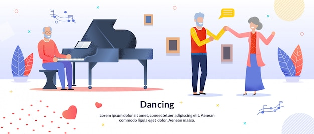 Dancing party for elderly people friends banner template