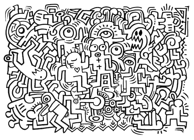 Dancing party with doodled youngsters having fun