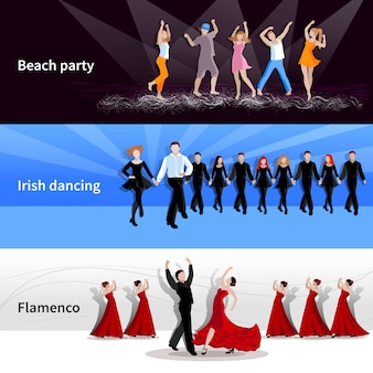 Dancing people backgrounds and characters