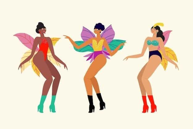 춤추는 사람들이 브라질 카니발 흰색 배경에 고립