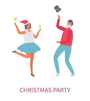 Dancing people at christmas party, vector cartoon
