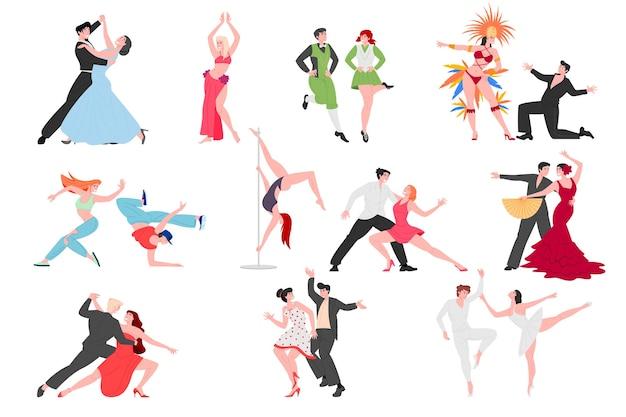 Dancing people couples cartoon characters set.