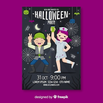 Dancing people halloween flyer template