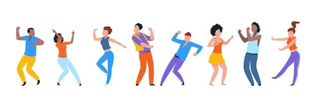 춤추는 사람들. 행복 한 유행 남자, 여자 댄서, 춤을 즐기는 행복 한 젊은 사람들의 그룹.