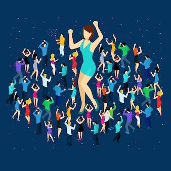 Dancing people isometric concept