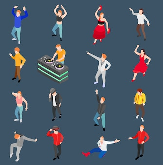 Dancing people isometric set