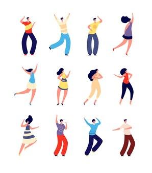 Танцующие люди. веселые парочки танцуют. женщина-мужчина на фестивале праздничной вечеринки или рейв