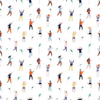 Dancing people seamless pattern.