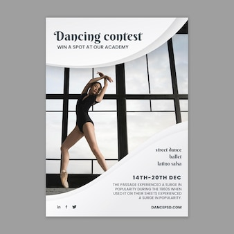 Dancing poster template with photo Free Vector