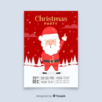 Dancing santa claus christmas flyer template