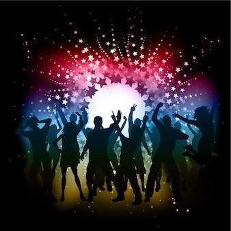 Ballando sagome a disco background