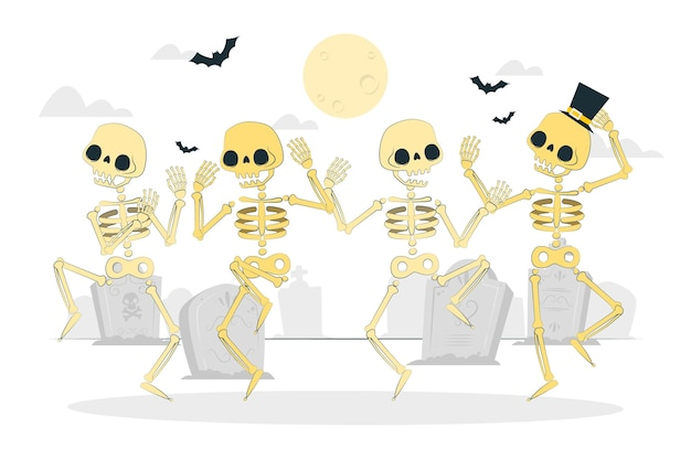 Dancing skeletons concept illustration