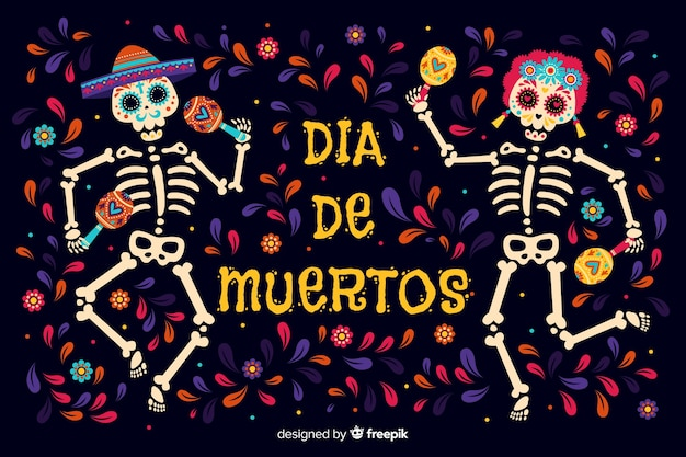 Dancing skull día de muertos background Free Vector