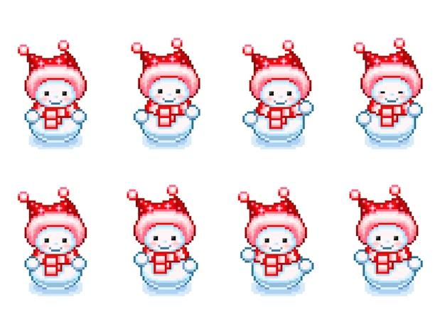 Pixel-art 스타일의 춤추는 눈사람 스프라이트 시트. 그림 흰색 배경에 고립입니다.