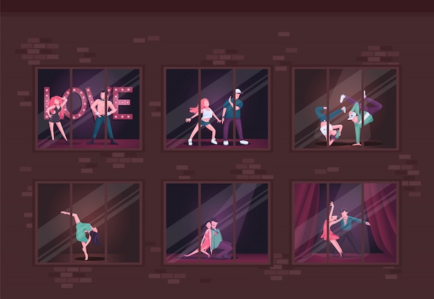 Танцевальная студия плоской иллюстрации