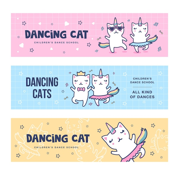 Dancing unicorn cats banners set