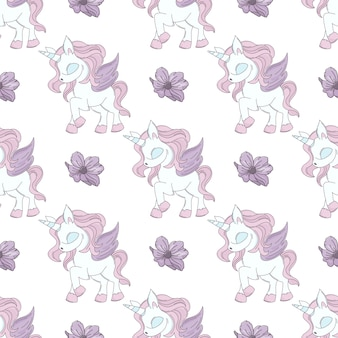 Dancing unicorn fairy tale seamless pattern