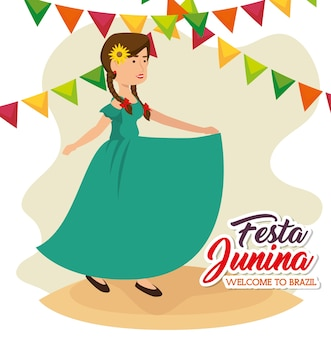 Dancing woman with sunflower and banners over white background vector illustration