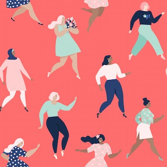 Dancing women. womens seamless pattern.
