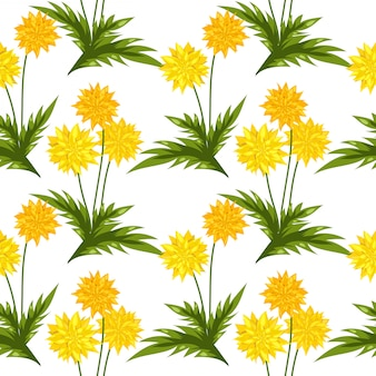 Dandelion flowers seamless pattern.