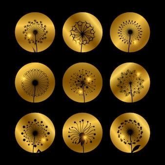 Dandelion flowers silhouettes on golden